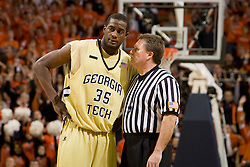 Georgia Tech forward Zach Peacock (35) is talked to by the official after a foul.  The Virginia Cavaliers men's basketball team fell to the Georgia Tech Yellow Jackets 92-82 in overtime at the John Paul Jones Arena in Charlottesville, VA on January 27, 2008.