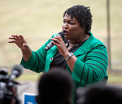 November 01, 2018 - Norcross, Georgia, U.S. -  Prior to heading off to the first of two town halls with Oprah Winfrey, STACEY ABRAMS, Democratic candidate for governor of Georgia, rallies supporters at a Get Out the Vote rally at the Best Friend Park Pavilion.(Credit Image: © Brian Cahn/ZUMA Wire)