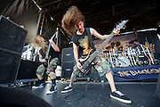 Suicide Silence performing on the Mayhem Festival at Verizon Wireless Amphitheater in St. Louis, Missouri on July 19, 2011. © Todd Owyoung.