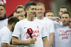 October 8, 2017 - Warsaw, Poland - Robert Lewandowski of Poland with microphone during the FIFA World Cup 2018 Qualifying Round Group E match between Poland and Montenegro at National Stadium in Warsaw, Poland on October 8, 2017  (Credit Image: © Andrew Surma/NurPhoto via ZUMA Press)