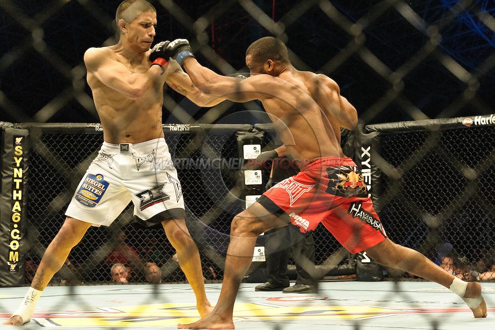 "ABU DHABI, UNITED ARAB EMIRATES, APRIL 10, 2010: DaMarques Johnson (white shorts) and Brad Blackburn (red shorts) are pictured at ""UFC 112: Invincible"" inside Ferari World, Abu Dhabi on April 10, 2010"