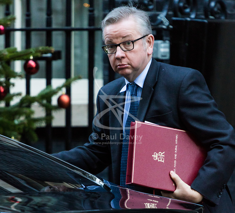 London, December 18 2017. Secretary of State for Environment, Food and Rural Affairs Michael Gove arrives at 10 Downing Street fora meeting of Prime Minister Theresa May's 'Brexit Cabinet'. © Paul Davey