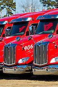 Engines and cabs of Peterbilt trucks used for Jordans Haulage, Natchez, Mississippi, USA