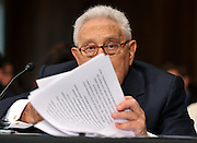 Former Secretary of State Henry Kissinger testifies before a Senate Foreign Relations Committee hearing on the U.S.-Russia Strategic Arms Reduction Treaty, in Washington, D.C.