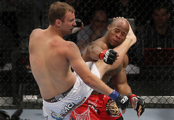 Mar 27, 2010; Newark, NJ, USA; Jared Hamman (white trunks) and Rodney Wallace (red trunks) fight at UFC 111 at the Prudential Center in Newark, NJ.  Hamman won via unanimous decision.