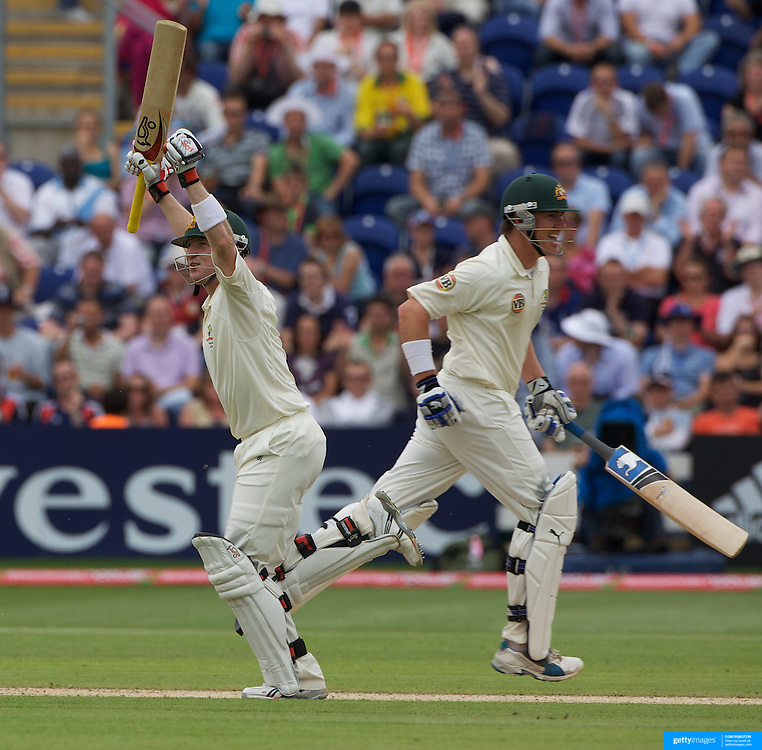 Brad Haddin celebrates his century as he crosses with team-mate Marcus North during the England V Australia  Ashes Test series at Cardiff, Wales, on Saturday, July 11, 2009. Photo Tim Clayton.