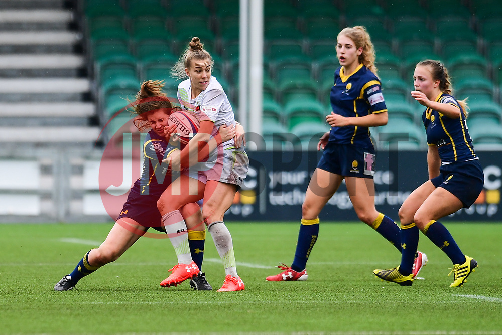 Nina Vistisen of Saracens Ladies is tackled by Megan Varley of Worcester Valkyries  - Mandatory by-line: Craig Thomas/JMP - 30/09/2017 - RUGBY - Sixways Stadium - Worcester, England - Worcester Valkyries v Saracens Women - Tyrrells Premier 15s