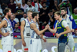 Goran Dragic of Slovenia and his injured brother Zoran Dragic celebrating at Trophy ceremony after winning during the Final basketball match between National Teams  Slovenia and Serbia at Day 18 of the FIBA EuroBasket 2017 and become Europen Champions 2017, at Sinan Erdem Dome in Istanbul, Turkey on September 17, 2017. Photo by Vid Ponikvar / Sportida