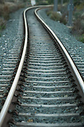Light shining on railway track,Alicante,Spain,Europe