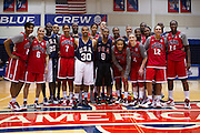 The USA Women's Basketball Team pose for a photo with the men after the 2012 USA Women's Basketball team practice at Bender Arena  in Washington, DC.  July 15, 2012  (Photo by Mark W. Sutton)