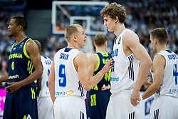 Sasu Salin of Finland and Lauri Markkanen of Finland during basketball match between National Teams of Finland and Slovenia at Day 3 of the FIBA EuroBasket 2017 at Hartwall Arena in Helsinki, Finland on September 2, 2017. Photo by Vid Ponikvar / Sportida