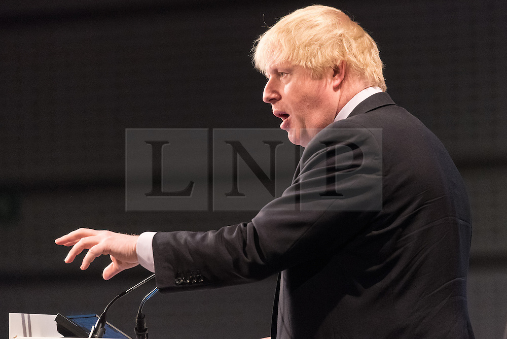© Licensed to London News Pictures. 28/02/2017. Secretary of State for Foreign and Commonwealth Affairs BORIS JOHNSON<br /> makes a keynote speech at the British Chambers of Commerce Annual Conference 2017 on growing business in the regions and nations. London, UK. Photo credit: Ray Tang/LNP