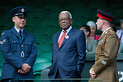 02.07.2014, All England Lawn Tennis Club, London, ENG, WTA Tour, Wimbledon, im Bild Former television newsreader Trevor McDonald during the Ladies' Singles Quarter-Final match on day nine // during the Wimbledon Championships at the All England Lawn Tennis Club in London, Great Britain on 2014/07/02. EXPA Pictures © 2014, PhotoCredit: EXPA/ Propagandaphoto/ David Rawcliffe<br /> <br /> *****ATTENTION - OUT of ENG, GBR*****