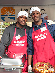Torrie Wilson and Sandra Taylor are seen attending Christmas Meal for The Homeless at LA Mission in Los Angeles, California. NON-EXCLUSIVE December 22, 2017. 22 Dec 2017 Pictured: Edwin Hodge,Aldis Hodge. Photo credit: gotpap/Bauergriffin.com/MEGA TheMegaAgency.com +1 888 505 6342