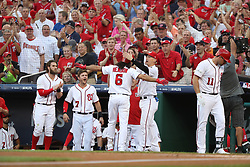 October 7, 2017 - Washington, DC, USA - The Washington Nationals' Anthony Rendon (6) celebrates his home run in the first inning against the Chicago Cubs during Game 2 of the National League Division Series at Nationals Park in Washington, D.C., on Saturday, Oct. 7, 2017. (Credit Image: © Chris Sweda/TNS via ZUMA Wire)