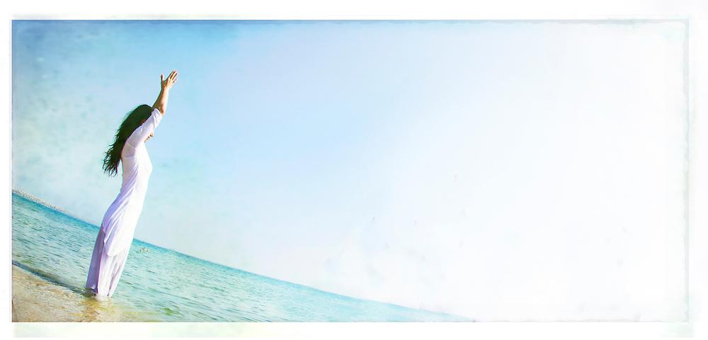 Cristina at the Barceloneta Beach, Barcelona