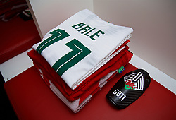 ELBASAN, ALBANIA - Tuesday, November 20, 2018: The white shirt of Wales' Gareth Bale in the dressing room before the International Friendly match between Albania and Wales at the Elbasan Arena. (Pic by David Rawcliffe/Propaganda)