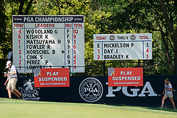 August 10, 2018 - St. Louis, Missouri, United States - Signage on the 9th green during the second round of the 100th PGA Championship at Bellerive Country Club. (Credit Image: © Debby Wong via ZUMA Wire)