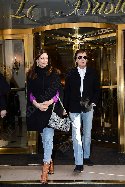 04.MARCH.2013. PARIS<br /> <br /> SIR PAUL MCCARTNEY AND HIS WIFE NANCY SHEVELL ARE SEEN LEAVING THE HOTEL BRISTOL AND HEADING TO THE STELLA MCCARTNEY'S FALL-WINTER 2013-2014 READY-TO-WEAR COLLECTION SHOW HELD AT THE OPERA GARNIER IN PARIS, FRANCE.  <br /> <br /> BYLINE: EDBIMAGEARCHIVE.CO.UK<br /> <br /> *THIS IMAGE IS STRICTLY FOR UK NEWSPAPERS AND MAGAZINES ONLY*<br /> *FOR WORLD WIDE SALES AND WEB USE PLEASE CONTACT EDBIMAGEARCHIVE - 0208 954 5968*