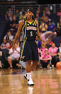 Aug 8, 2010; Phoenix, AZ, USA; Indiana Fever guard Shavonte Zellous reacts during the first half at US Airways Center.  The Fever defeated the Mercury 104-82.  Mandatory Credit: Jennifer Stewart-US PRESSWIRE