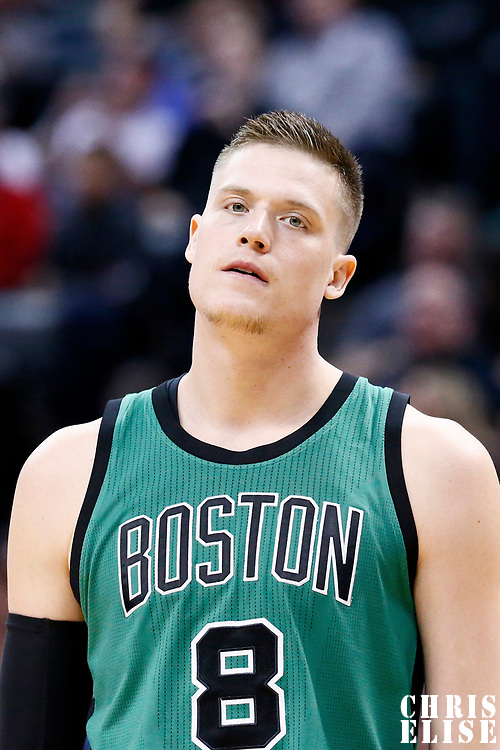 10 March 2017: Boston Celtics forward Jonas Jerebko (8) rests during the Denver Nuggets 119-99 victory over the Boston Celtics, at the Pepsi Center, Denver, Colorado, USA.