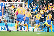 Mansfield Town defender Malvind Benning (3) celebrates after scoring the first goal during the EFL Sky Bet League 2 match between Chesterfield and Mansfield Town at the Proact stadium, Chesterfield, England on 14 A pril 2018. Picture by Nigel Cole.