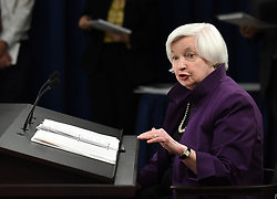 June 14, 2017 - Washington, District of Columbia, U.S. - U.S. Federal Reserve Chair JANET YELLEN speaks during a news conference in the U.S. capital after the Federal Reserve raised the benchmark interest rates for the fourth time since December 2015, and unveiled plans to start trimming its balance sheet. (Credit Image: © Yin Bogu/Xinhua via ZUMA Wire)