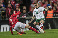 FOOTBALL: James McClean (Ireland) is tackled by William Kvist (Denmark) during the World Cup 2018 UEFA Play-off match, first leg, between Denmark and the Republic of Ireland at Parken Stadium on November 11, 2017 in Copenhagen, Denmark. Photo by: Claus Birch / ClausBirch.dk.