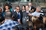 Special prosecutors Kent Schaffer and Brian Wice speak with the media after Texas Attorney General Ken Paxton made his first court appearance in Fort Worth, Texas on August 27, 2015.  (Cooper Neill for the Texas Tribune)