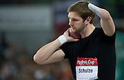Paralympics athlete Matthias Uwe Schulze of Germany competes in men's shot put during indoor athletics meeting Pedro's Cup 2013 at Luczniczka Hall in Bydgoszcz, Poland...Poland, Bydgoszcz, February 12, 2013..Picture also available in RAW (NEF) or TIFF format on special request...For editorial use only. Any commercial or promotional use requires permission...Photo by © Adam Nurkiewicz / Mediasport