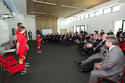 NEWPORT, WALES - Saturday, April 20, 2013: School children give a presentation at the opening of the FAW National Development Centre in Newport. (Pic by David Rawcliffe/Propaganda)