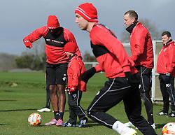 Bristol City's Jay Emmanuel-Thomas explains to Connor the training drill - Photo mandatory by-line: Dougie Allward/JMP - Mobile: 07966 386802 - 01/04/2015 - SPORT - Football - Bristol - Bristol City Training Ground - HR Owen and SAM FM