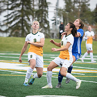 3rd year midfielder Brigit Sinaga (10) of the Regina Cougars during the Women's Soccer Homeopener on September 16 at U of R Field. Credit: Arthur Ward/Arthur Images