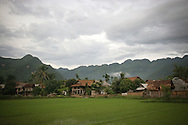 View of Mai Chau village by cloudy day,  Hoa Binh province, Vietnam, Asia