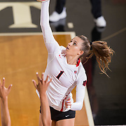 26 August 2016: The San Diego State Aztecs took on the Marist Red Foxes to open up the season.  OH Alexandra Psoma (1) spikes the ball in the first set. The Aztecs swept the Red Foxes 3-0 in their opening match of the Aztec Invitational at Peterson Gym on the campus of SDSU. www.sdsuaztecphotos.com