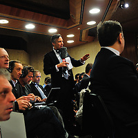 CNN journalist addressing a question to Iranian Foreign Minister Mohammed Zarif, in a 4.30 a.m.  press conference for the international media following a surprise historic late night deal struck with western countries concerning Iranian nuclear ambitions, following a  third round of the E3/EU+3 Iran talks in Geneva.
