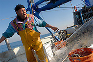 Anzio, 29/12/2007: battuta di pesca con le rapide sull'imbarcazione Rinascita. Amzef 53 anni,tunisino, inizia a lavorare in una fabbrica di magliette vicino al porto di Tunisi, incontra nei bar i pescatori e a 18 anni inizia la sua vita da pescatore che lo porterà a Mazara del Vallo e poi ad Anzio dove ha trascorso la maggior parte della sua vita e dove sono nate li sui tre figli è stato anche in Macedonia durante la guerra a contrabbandare pesce.