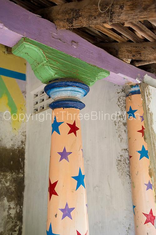 Pillar with stars. Thallaimattu Street.<br /> Nagore town.<br /> Tamil Nadu state. South India.