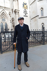 "© Licensed to London News Pictures. 08/02/2018. London, UK. IAN BONE celebrates outside the High Court in London. The Qatari royal owners of the Shard via Management Company, Teighmore Limited sought a high court injunction to prevent protests against empty housing led by veteran anarchist founder and leader, Ian Bone, 70 of the campaign group newspaper, Class War outside the 72-storey London landmark, where 10 multiple million-pound luxury apartments lie empty. Class War are organising a series of ""noisy, but peaceful"" ""ghost towers"" protests outside the Shard. Photo credit: Vickie Flores/LNP"
