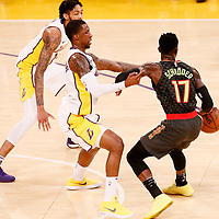 07 January 2018: Los Angeles Lakers guard Kentavious Caldwell-Pope (1) and Los Angeles Lakers forward Brandon Ingram (14) defend on Atlanta Hawks guard Dennis Schroder (17) during the LA Lakers 132-113 victory over the Atlanta Hawks, at the Staples Center, Los Angeles, California, USA.