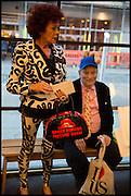 PATRICIA QUINN, SIR NORMAN ROSENTHAL, Andrew Logan's Alternative Miss World 2014. Shakespeare's Globe, London. 18 October 2014.