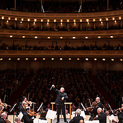 March 7, 2012 - New York, NY : Christoph Eschenbach conducts the Boston Symphony Orchestra in Hector Berlioz's 'Symphonie fantastique, Episode from the life of an artist, Op. 14 (1830)' in the Isaac Stern Auditorium at Carnegie Hall on Wednesday night. CREDIT: Karsten Moran for The New York Times