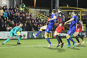 AFC Wimbledon defender Paul Robinson (6) almost connecting with a through ball during the EFL Sky Bet League 1 match between AFC Wimbledon and Blackburn Rovers at the Cherry Red Records Stadium, Kingston, England on 27 February 2018. Picture by Matthew Redman.