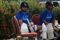 July 25, 2017 - Galle, Sri Lanka - Indian cricket captain Virat Kohli(L) takes part in a practice session ahead of the 1st test match between Sri Lanka and India at Galle International cricket stadium, Galle, Sri Lanka on Tuesday 25 July 2017. (Credit Image: © Tharaka Basnayaka/NurPhoto via ZUMA Press)