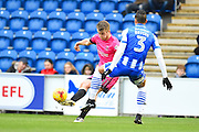 Hartlepool player Rhys Oates crosses the ball into the box in the first half during the EFL Sky Bet League 2 match between Colchester United and Hartlepool United at the Weston Homes Community Stadium, Colchester, England on 25 February 2017. Photo by Ian  Muir.