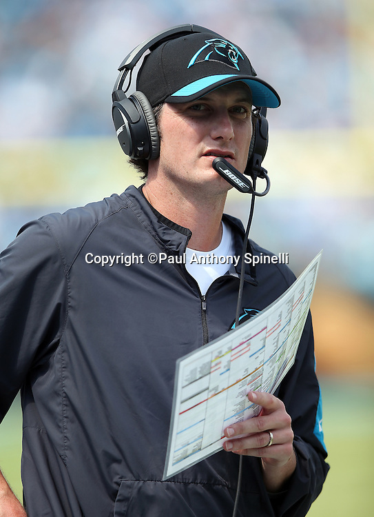 Carolina Panthers quarterbacks coach Ken Dorsey looks on from the sideline during the 2015 NFL week 2 regular season football game against the Houston Texans on Sunday, Sept. 20, 2015 in Charlotte, N.C. The Panthers won the game 24-17. (©Paul Anthony Spinelli)