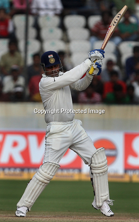 Indian batsman hit the shot against during the Indian vs New Zealand 2nd test match day-5 Played at Rajiv Gandhi International Stadium, Uppal, Hyderabad 16 November 2010 (5-day match)