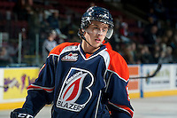 KELOWNA, CANADA -FEBRUARY 1: Jesse Shynkaruk C #9 of the Kamloops Blazers skates during warm up against the Kelowna Rockets on February 1, 2014 at Prospera Place in Kelowna, British Columbia, Canada.   (Photo by Marissa Baecker/Getty Images)  *** Local Caption *** Jesse Shynkaruk;