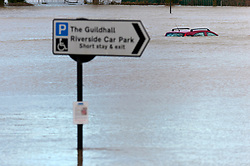 © Licensed to London News Pictures. 24/02/2020. Shrewsbury, Shropshire, UK. Guildhall car park gets flooded. River Severn levels continue to rise at Shrewsbury in Shropshire, UK causing severe flood disaster situation. The Environment Agency forecast levels to peak tomorrow evening at around 5.56 metres . the current level at 17.00hrs was 4.95 metres. Photo credit: Graham M. Lawrence/LNP