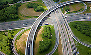 Nederland, Limburg, Gemeente Sittard-Geleen, 27-05-2013;  verkeersknooppunt Kerensheide, klaverturbine A2 en A76, fly-over richting Heerlen (li).<br /> Junction Kerensheide, motorway A2 en A73. <br /> luchtfoto (toeslag op standaardtarieven);<br /> aerial photo (additional fee required);<br /> copyright foto/photo Siebe Swart.